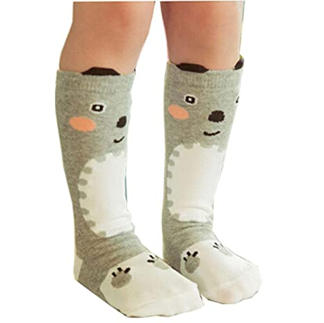 59a06637530 Buy Gogolan Fashion Lovable Cartoon S Animals Stripes Knee High Socks  Tights Hosiery Stockings 0-6Y 0-1 T Grey 2 Online at Low Prices in India -  Amazon.in