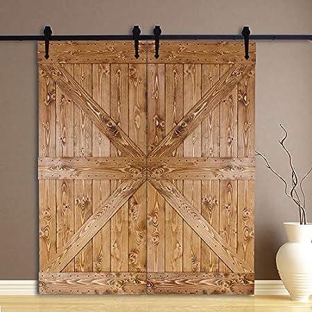 213cm/7FT Kit puerta granero herraje corredera,Puerta de Granero Corredera de Madera, Herraje para Puertas Corredizas Interiores,puerta doble