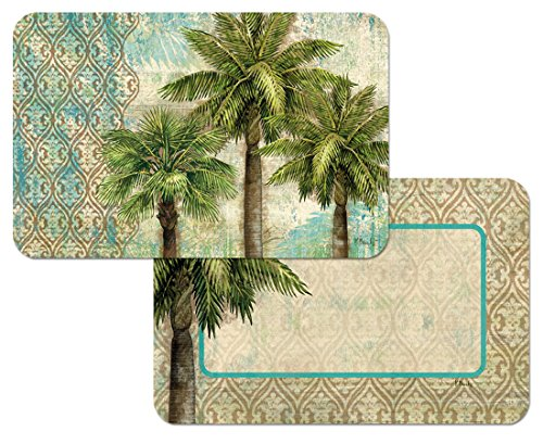 Sand Soothing - Aqua Escape Placemats- Beach colors of aqua and sand with soothing palm trees- Set of 4
