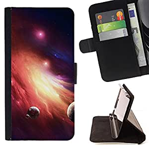 BullDog Case - FOR/HTC One M8 / - / galaxy fire planets art red dwarf star dust /- Monedero de cuero de la PU Llevar cubierta de la caja con el ID Credit Card Slots Flip funda de cuer