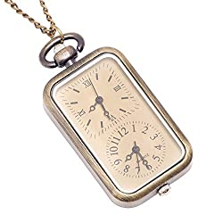 81stgeneration Women's Brass Vintage Style Dual Time Zone Pocket Watch Chain Pendant Necklace, 78 cm