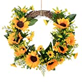HEBE Wreath, Artificial Wreath for Front Door Indoor Wedding Wall Home Decor Floral Fake Sunflower Wreath with Green Leaves (13.5 inch, Sunflower)
