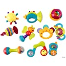 Memtes 10 Piece Baby Rattle and Teether Toy Gift Set with Caterpillar, Telephone, & Instruments