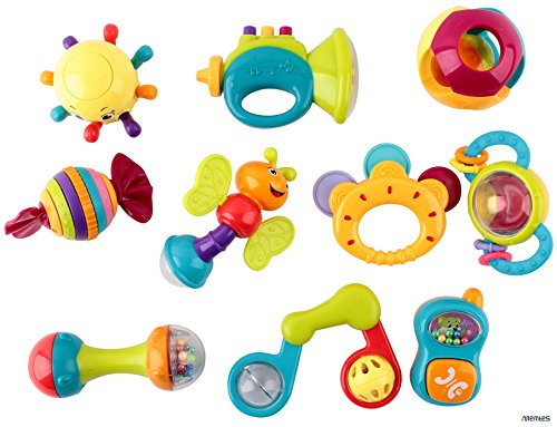 Phone Rattle (Memtes 10 Piece Baby Rattle and Teether Toy Gift Set with Caterpillar, Telephone, &)