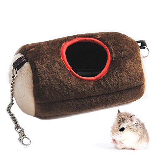 MUYAOPET Hanging Hamster Tunnel Bed House Nest Cage for Rat Hamster Squirrel Small Animals Bed Plush Hammock Toy (M(7.8