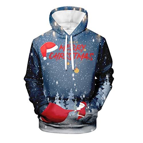FONMA Men's Casual Christmas 3D Print Tops Long Sleeve Hooded Sweater Jacket Coat