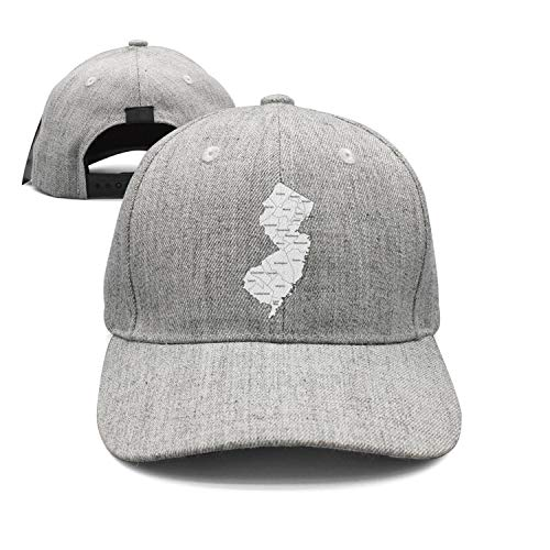 Unisex Classic Cotton Baseball Cap-New Jersey Map The Great Garden State Design Fitted Snapback hat Sport Cap