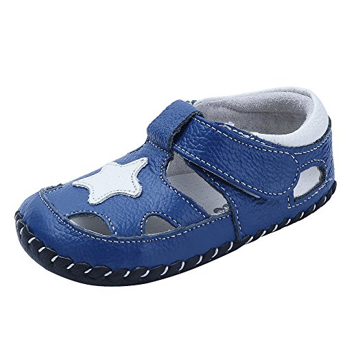 Baby Boys Girls Genuine Leather Soft Bottom Sandals First Walkers Shoes (13.5cm(18-24months), - Genuine Shoes Leather Baby