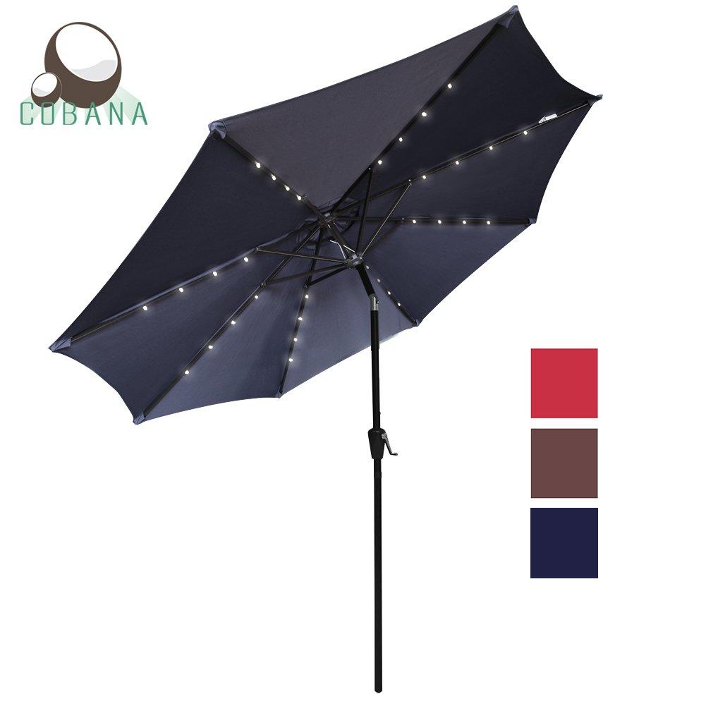 COBANA 9 Ft Patio Solar Powered Umbrella Outdoor Garden LED Light Umbrella with Push Button Tilt and Crank Navy