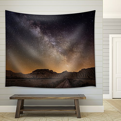 wall26 - Milky Way over the Desert of Bardenas, Spain - Fabric Wall Tapestry Home Decor - 68x80 inches by wall26