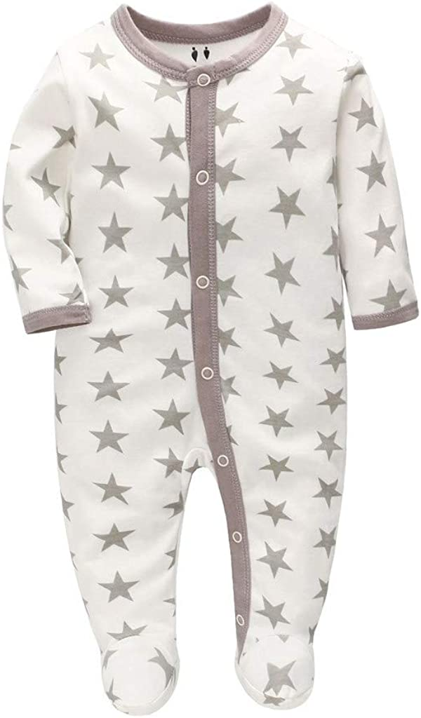 WOCACHI Unisex Baby Footed Sleeper Newborn Girls Boys Floral Pleats Button Pajamas Romper with Headband 2pcs Outfits