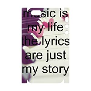 3D IPhone 5,5S Cases Music Quotes,music is my Life, Music [White]
