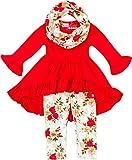 Boutique Clothing Girls Fall Winter Christmas Rose Tunic Legging Scarf Set 6