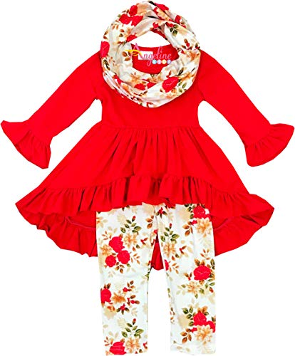 Boutique Clothing Girls Fall Winter Christmas Rose Tunic Legging Scarf Set 6 by Angeline