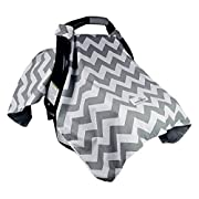 Bonafide Baby Car Seat Cover, Chevron with Free Stroller Hook, Grey