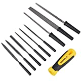 Gunpla 10 Pieces All Purpose Hand File and Rasp Set with Ergonomic Handles Round Triangle Needle Square Files Sharpening Tools For Wood/Metal/ Plastic