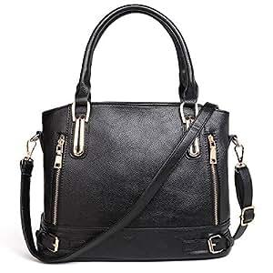 Hombro Diagonal ajustable Lichi patrón mujer bolso de mano, negro