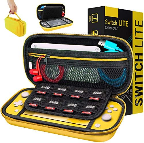 Orzly Case for Nintendo Switch Lite – Portable Travel Carry Case with Storage for Switch Lite Games & Accessories [Yellow]