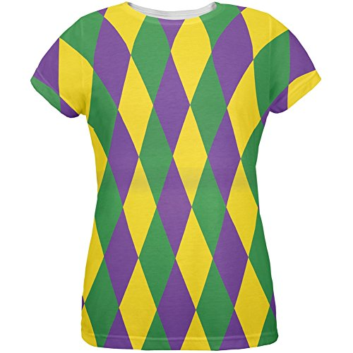 Mardi Gras Jester Costume All Over Womens T-Shirt - Large - Mardi Gras Costumes Designers