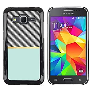 LECELL--Funda protectora / Cubierta / Piel For Samsung Galaxy Core Prime SM-G360 -- Cross Pattern Illusion Teal Black --