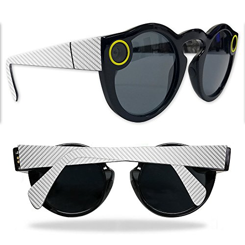 Skin For Snapchat Spectacles – White Carbon Fiber | MightySkins Protective, Durable, and Unique Vinyl Decal wrap cover | Easy To Apply, Remove, and Change Styles | Made in the - Fibre Carbon Spectacles