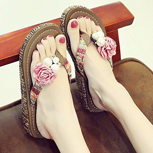 flops beach summer British flip Pink shoes flops fashion LIUXINDA Flip summer slippers XZ women's shoes F1f4qP