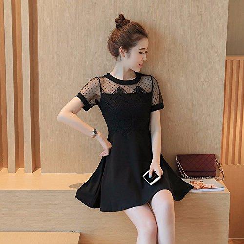 fb53dded5c TXD Clothing Verano de Manga Corta Moda Coreana Costura Encaje Faldas Cortas