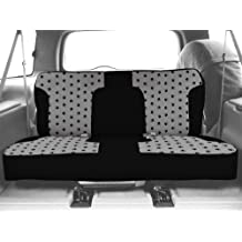 CalTrend Rear Row Solid Bench Custom Fit Seat Cover for Select Ford F-150 Models - Pet Print (Light Grey Insert with Black Trim)