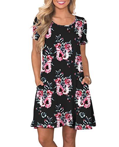 KORSIS Women's Summer Floral Dresses Short Sleeve Tunic T Shirt Swing Dresses Flower Black XL
