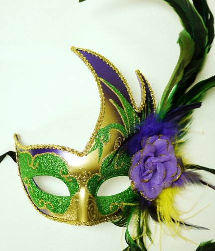 Mardi Gras Swan Mask (Purple/Gold/Green)