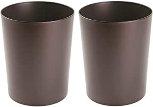 mDesign Round Metal Small Trash Can Wastebasket, Garbage Container Bin for Bathrooms, Powder Rooms, Kitchens, Home Offices - Durable Steel, 2 Pack - Bronze