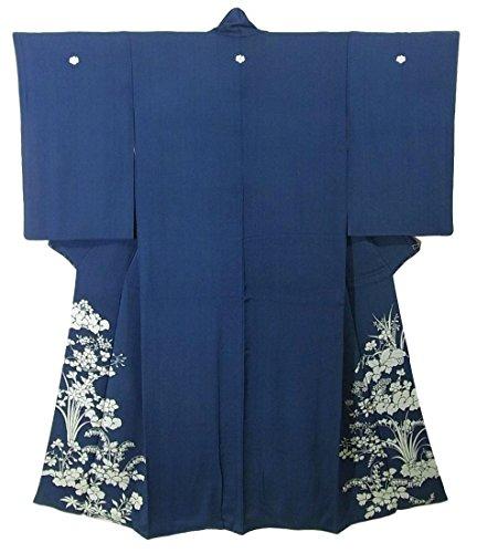 津波規定文明化アンティーク 色留袖 四季花文様 正絹 袷 裄62.5cm 身丈151cm