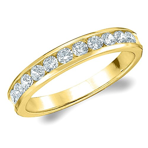 14K Yellow Gold Diamond Channel Set Wedding Band (.50 cttw, F-G Color, VS1-VS2 Clarity) Size 8.5