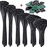 AUSTOR 1200 Pieces Zip Ties and Adhesive Zip Tie Mounts Kit Black Nylon Cable Zip Tie in 4/6/ 8/10/ 12/14 Inches(Including 20 Pieces Cable Tie Mounting Base)