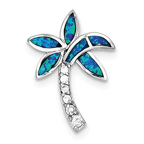 (Sterling Silver Rhodium Plated Synthetic CZ Blue Inlay Synthetic Opal Palm Tree Pendant)