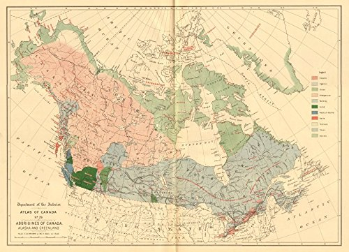 CANADA ALASKA GREENLAND ABORIGINALS Eskimo Athapascan Tlinkit Salish &c - 1906 - old map - antique map - vintage map - Canada maps