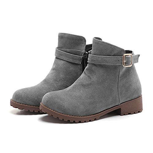 Frosted Gray Boots Heels Women's Round Low Toe Allhqfashion Closed Solid Zipper wZ1O4qw0n