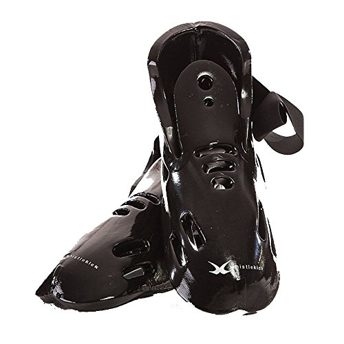 whistlekick Karate Sparring Foot Gear Set with Backpack, Child Large - Stealth (Black)