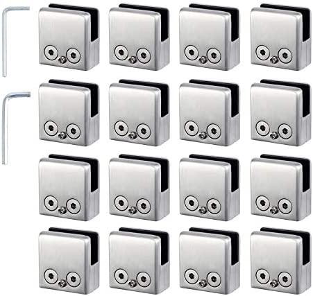 4X Rustproof Glass Clamp 304 Stainless Steel Glass Holder Brackets Fits 6-8mm Thickness Glass Wall Mounted for Home Staircase Toilet Balcony Retangle