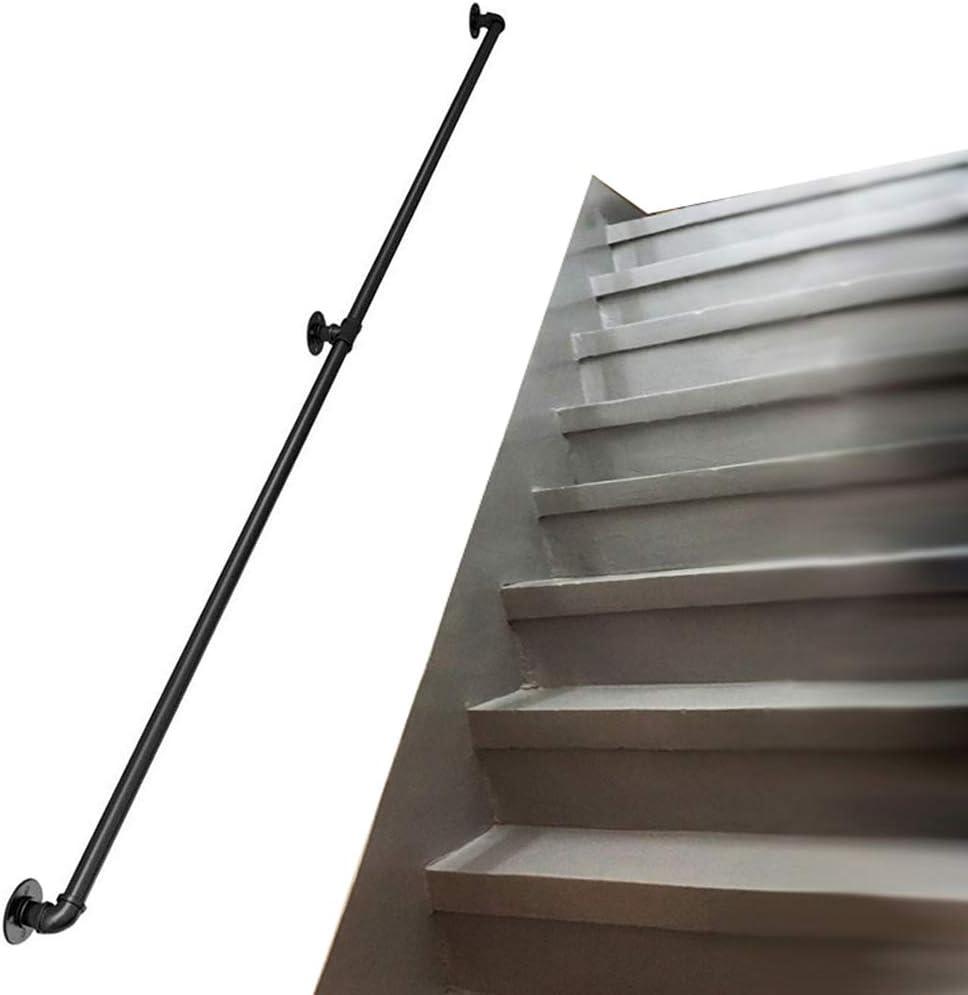 Redondo Pasamanos Industrial for Escalera | Barandillas for techos escaleras for interiore exteriore | Balaustradas Reposabrazos de Seguridad para escaleras | Hierro Forjado de Metal Negro: Amazon.es: Hogar