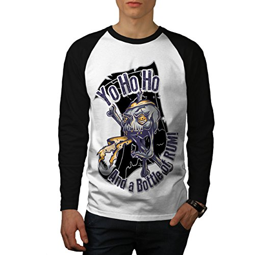 - wellcoda Crazy Mad Pirate Skull Mens Baseball Long Sleeve Shirt, Dead Jersey White (Black Sleeves) M