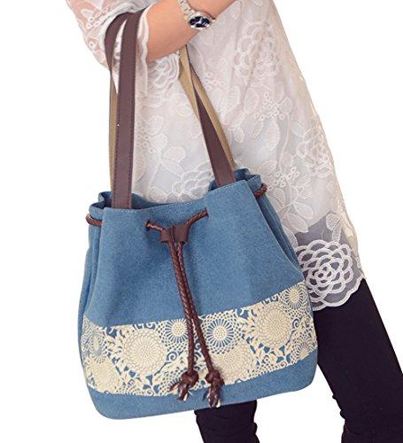 Women's Blue PB Handbag Canvas Bag Ladies SOAR Shoulder Fashion Tote Bag Casual Drawstring Blue qCA4Cw