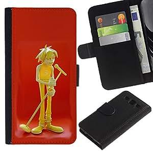 Estuche de Cuero Billetera del tirón Tarjeta de la Bolsa Titular de Suave Caso para Samsung Galaxy S3 III I9300 / CECELL Phone case / / Music Microphone Art Boy Singer Drawing /