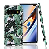 GOLINK Case for Galaxy S10 Plus/S10+, Matte Finish Floral Series IMD Printing Slim Fit TPU Gel Case for S10 Plus/S10+ (6.4' 2019 Released)-Banana Leaves