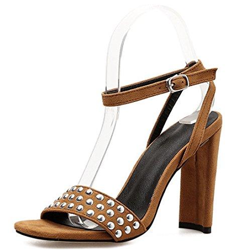 De Bloc Pompes Sandales Femmes Dress Prom Cheville Travail Toe Peep Talons Strap Dames Rivet Brown Soirée Strappy Chaussures UwZBw