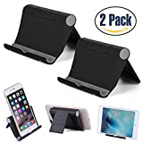 Cell Phone Stand Portable Multi-Angle, 2 Pack Tablet Stand Universal Smartphones for Holder Tablets(6-11'), e-reader, iPhone X/8/8 Plus/7/7 Plus, Samsung Galaxy S8/S7/Note 8, Air, mini, Pixel 2(Black)