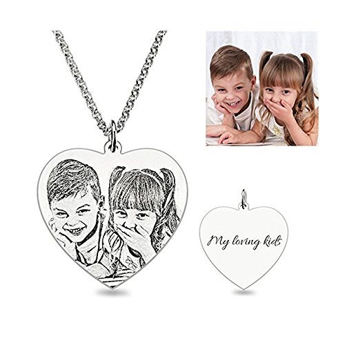 Photo Pendant - Wisdoy Personalized Custom Photo Necklace Pendant Silver Chain with CustomizedGift for Men/Women/Girls/Boys