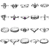 FIBO STEEL 20 Pcs Vintage Knuckle Rings for Women Girls Stackable Midi Finger Ring Set