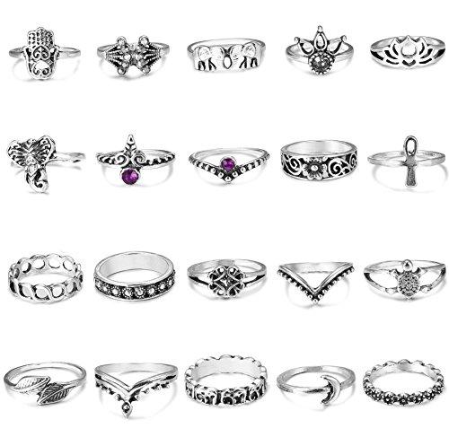 FIBO STEEL 20 Pcs Vintage Knuckle Rings for Women Girls Stackable Midi Finger Ring Set