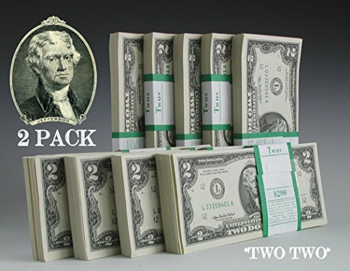 (Two Dollar Bills - TWO (2) Consecutive Real Uncirculated and Rare $2 Bills in Collectible Currency Holder (Mint Condition))
